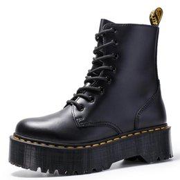 2019 botines morados sexy Size34-41 gruesos botas de motocicleta para las mujeres otoño 2019 Moda punta redonda de combate con cordones Botas zapatos de las señoras