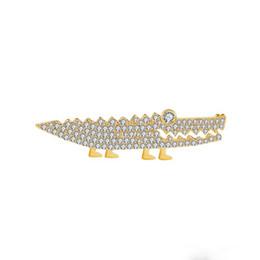 Pinos on-line-Dois Escolher Um Bonito Dos Desenhos Animados De Cobre Broche Pin Pequeno Crocodilo Perna Curta Grande Boca De Crocodilo De Cobre Zircão Broche de Alta Qualidade