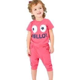 Gafas de ropa caliente online-2019 Recién Llegado de la Venta Caliente Tela de Algodón Gafas de Impresión de Dibujos Animados Niños Ropa Conjuntos Niños Trajes de Manga Corta Camisetas Pantalones