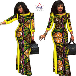 african wax women dresses Promo Codes - Party dresses 2019 New style African Dresses for Women Bazin Riche Plus Size African Wax Print 100% Cotton Dresses WY304