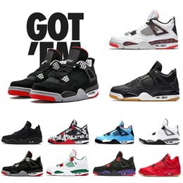 579b645b6505 2019 Newest Bred 4 IV 4s Tattoo Men Basketball Shoes Fire Red White black  Cactus Jack Travis Pizzeria Lightning mens Sports sneakers 8-13