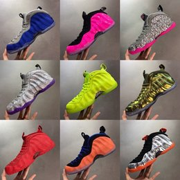 Tênis de basquete brilhantes on-line-2020 New Penny Hardaway Foam One Pro Bright Crimson Volt Mens Basketball Shoes Fuchsia Grey Pink Cement spray vandalized Sports Sneakers