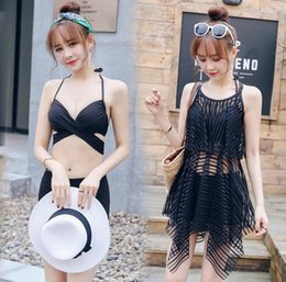 korean bikini swimwear Promo Codes - The new swimsuit ladies split bikini three-piece sexy conservative gathered in the steel pole Korean spa swimwear