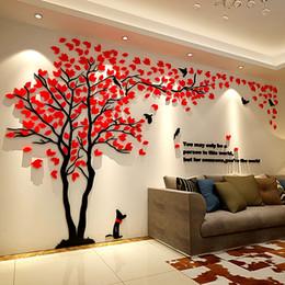 autocollants muraux londres Promotion Lovers arbre 3D acrylique Trois dimensions Stickers muraux pour voir l'arrière-plan TV Dog Green Tree Mold Décoration murale Accueil Ameublement