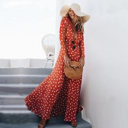 2020 vestido largo cruzado rojo de manga larga Vestido largo bohemio Vestido cruzado de manga larga con lunares Rojo Negro Blanco Vestidos largos de boho robe longue Vestidos vestido largo cruzado rojo de manga larga baratos