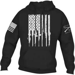 Usa kleidung online-Pistole gedruckt Mens Designer Pullover Langarm Kapuzen Herren Sweatshirts USA Schädel gedruckt Teenager Bekleidung