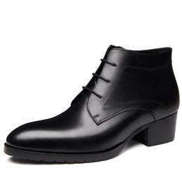 2019 botines de encaje para hombre o invierno nuevo mens genuinos botas de cuero zapatos de tacón alto de vestir de negocios botines zapatos hombres punta redonda encaje hasta la moda rebajas botines de encaje para hombre
