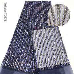 Nuovo merletto netto francese paillettes nigeriano, tulle africano tessuto di pizzo sequenza di alta qualità per abito da sposa 5 yards / lot blu navy da