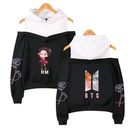 cartoon album Coupons - KELUOXIN 2018 BTS Kpop Hoodies Women Sexy Off-Shoulder Women's Love Yourself Album Cartoon Anime Printed Fake Two Pieces Clothes