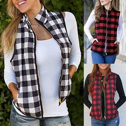 Giacca di blocco online-Le donne Plaid Pocket Vest Buffalo Zipper Via anteriore aperto Color Block risvolto cardigan patchwork Giacca OOA7576