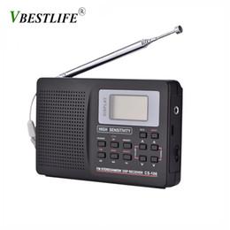 2019 suportes de tv VBESTLIFE mini-portátil Rádio FM Suporte FM / AM / SW / LW / frequência TV Som completa Rádios Receiver Alarm Clock FM Rádio Mini suportes de tv barato