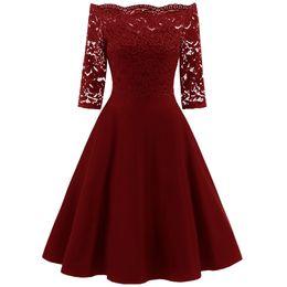 Vestido de swing de ombro on-line-Joineles rendas painel mulheres dress primavera off the shoulder vintage vestidos de balanço elegante midi vestido de festa vermelho sólido dresses mujer T3190605