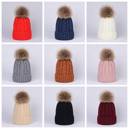 wool skull caps Coupons - Winter Women Twist Knitted Hat Warm Pom Pom big Fur ball Wool Hat Ladies Skull Beanie Solid Crochet Ski Outdoor Caps LJJA2949