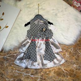 Mousseline couche fille robe en Ligne-Les filles s'habillent pour enfants de vêtements de créateur en mousseline de soie d'automne multicouches piquant version verticale taille robes de bow