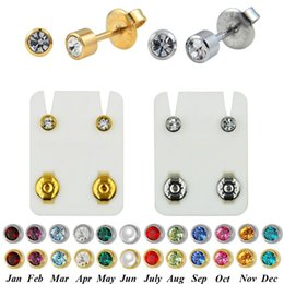 helix piercing jewelry Promo Codes - PAIR 24K Plated Gold Birthstone CZ Gem Ear Helix Tragus Cartilage Stud Earrings Piercing Professional for Earring Gun Jewelry