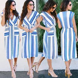 chiffon hochzeitskleid tropfen ärmel Rabatt 2019 New Fashion Womens Sleeveless V-Kragen Blau-und Weiß Streifen Lose Hohe Taille Kleid Damen Lässige Street Dresses