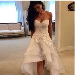2019 романтические линии 2020 скромные пляжные свадебные платья Милая кружевные аппликации High Low Country свадебное платье свадебное платье Robe Mariage Vestido de Novia
