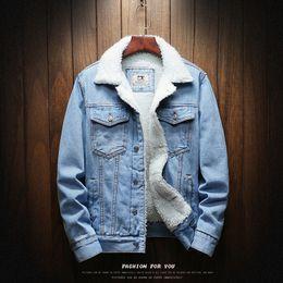 casacos de lã azul claro Desconto TANG Novos Homens Grande Tamanho Forro De Lã Mais Grosso Inverno Jaquetas Jeans Homens Luz Azul Jaquetas de Inverno Outerwear Casacos Quentes Jeans