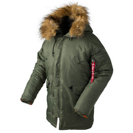 882e7b09f4205 New N3B Puffer Winter Down Jacket Men Tactical Long Canada Coat Fur Hood  Warm Trench Camouflage Bomber Army Down Parka
