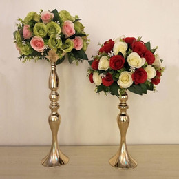 wedding centerpieces candles flowers Promo Codes - Height Metal Candle Holder Candle Stand flower vase Wedding Centerpiece Flower Rack Road Lead gold and silver