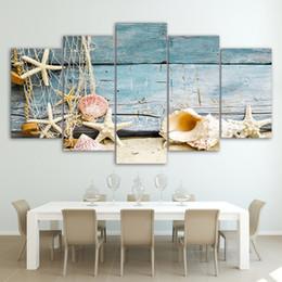 Trabajo de oficina online-5 unids Sin Marco Lienzo Pintura Conchas y Estrellas de Mar Playa Imagen de Arte de Oficina Oficina de Arte Decoración para el hogar