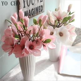 fiori artificiali all'ingrosso decorazione di cerimonia nuziale di seta falso eustoma fleurs hogar natale 3 colori piante succulente magnolia floreale cheap wholesale artificial magnolias da magnolie artificiali all'ingrosso fornitori