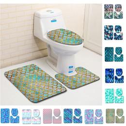 2019 capa de polpa Escama de peixe Impresso Tapetes de Banho 3 pçs / set Anti-derrapante Banheiro Tapetes Banheiro Tampa Tapete Tapete de Banho Tapetes