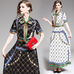 Demi maxi robes en Ligne-2019 Runway Classic Luxury Print Shirt Maxi robes femmes dames décontracté ruban cravate collier demi-manches bouton une robe de concepteur
