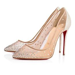zapatos sin tacones Rebajas Marry zapatos de vestir de boda plana / de alto tacón inferiores rojos Bombas Follies Strass Degrastrass Importado partido de malla + diamantes de imitación zapatos de noche