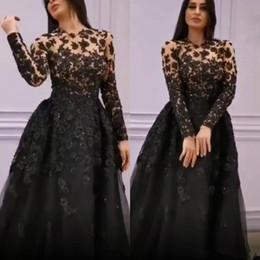 Vestido de encaje negro con forro beige online-Encaje negro con cuentas 2019 vestidos de noche africanos Sheer cuello una línea de manga larga vestidos de baile fiesta formal de la dama de honor de la vendimia vestidos del desfile
