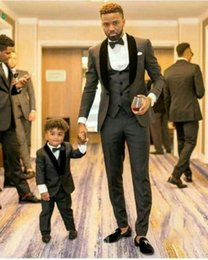 body fit clothing Coupons - Groom Tuxedos Mens wedding Suits Black Velvet Shawl Lapel Man Blazer 3Piece Jacket Trousers Vest Single Breasted Body Suits Children Clothes