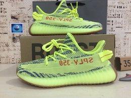 размеры замороженной обуви Скидка Kanye West 350 v2 новые кроссовки желтые полузамерзшие Зебра Белуга 2.0 Мужчины Женщины кроссовки спортивный размер 36-46
