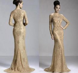 2019 pas cher robes de soirée sirène champagne or dentelle complète appliques perles bijou cou manches longues robes de soirée formelle robe de bal de concours ? partir de fabricateur