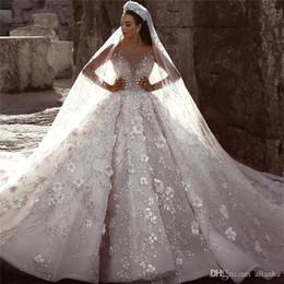 flores naturais bolas Desconto 2019 glamourosa luxo dubai árabe lace ball vestidos de casamento vestidos de mangas compridas 3d flores beading vestido de noiva vestidos de noiva bc0151