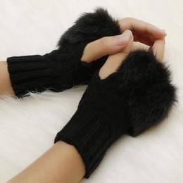 Pelzhandschuhe online-Faux Un Wrist Rabbit Fäustling Fell / Villi Damen Handschuhe-Gestrickter Arm Fingerloser Wärmer Winter Gestrickte Handschuhe New Wrist Trim Gloves
