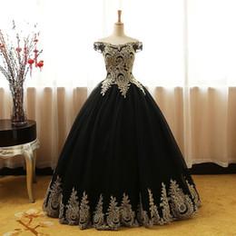 Canada Robe de bal noire et dorée en robe de soirée sur l'épaule en dentelle avec manches corset dos long et pas cher Formal Red Carpet Celebrity Dress cheap evening gowns corsets Offre