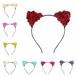 Orejas de gato de halloween diadema online-Lindo diseño de oreja de gato Hairbands con flor de rosa Diademas Cosplay de Halloween Accesorios para el cabello Cabello aro Sticks 10 colores
