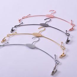 Estante de exposição on-line-Imitação Roupa Underwear Ouro Prop Única Linha De Metal Cromado Lingerie Sutiã Rack Exposição Cabide Cabide Cor Pura 1 35hdb1