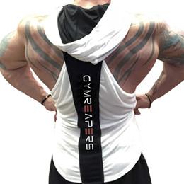 Gimnasio muchacho tanque online-Mens Casual Fitness Gym Slim Hooded Tank Tops Para Niños Verano Imprimir Sudor Transpirable Entrenamiento al aire libre Entrenamiento Chalecos Camisetas