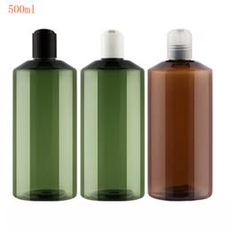 botellas de champú de plástico marrón Rebajas 20 piezas 500 ml marrón vacíos grandes envases de plástico de champú con tapa de disco, muestra de jabón líquido Pet botella tapa de prensa, embalaje cosmético