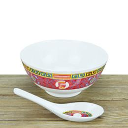Tazón de fuente online-Home Birthday Bowl Spoon Set Sup Marca Exquisito Blanco Rojo Restaurante Vajilla Práctica Moda Popular Cerámica Venta caliente 35frD1