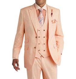 Slim fit costumes rose en Ligne-2019 Costumes de mariage rose pour hommes Costumes marié Tuxedos Veste Slim Fit 3 pièces Tux Custom Made Costumes de Bal d'étudiants Meilleur Homme Blazer (Veste + Pantalon + Gilet)