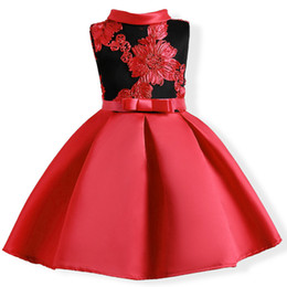 red chinese wedding dress Coupons - Retail Baby Girls wedding dress With Belt 2019 Kids Embroidered Party Prom Dress Children Girls Satin Princess Full dress Boutique clothes