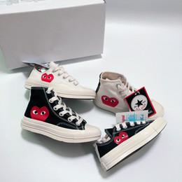 Estrella zapatos niño online-Marca All-Star 70s Hi C-D-G PLAY Zapatos para niños para niñas Niños Zapatos de lona Blanco Negro Bebé Niño Niños Zapatillas Tamaño 23-35