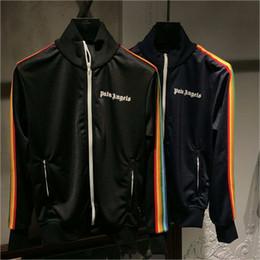 18SS Joggers Palm Melekler Ceketler Sonbahar Kış Streetwear Sarı Palmiye Melekler Ceket Rahat Gökkuşağı Çizgili Ceketler nereden
