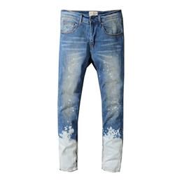 2019 italiano direto 2019 Hot Sale Da Moda Dos Homens Jeans Marca Em Linha Reta Fit Jeans Rasgado Designer Italiano 100% Algodão Afligido Denim Homme 218 desconto italiano direto