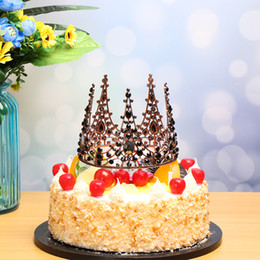 2019 torta di dolci dolci da sposa Shining Mini Crown Cake Topper Metal Pearl Happy Birthday Cake Toppers WeddingEngagement Decor Decorazione per feste dolci torta di dolci dolci da sposa economici