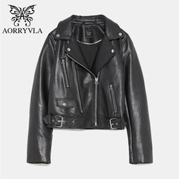 AORRYVLA New Collection Faux Leather Giacche Giacca da moto da donna Black  Zipper Turn-Down Collar Giacca in pelle Vendita calda vendita di giacca nera  del ... 2213abdc660