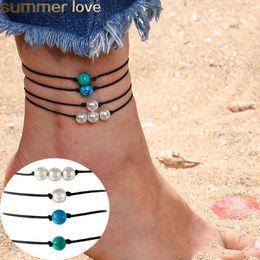 pietra perla nera Sconti Braccialetto fatto a mano in perline di pietra turchese tallone perla braccialetto di cera Bracciale corda nera per gli uomini Donne gioielli spiaggia d'estate regali