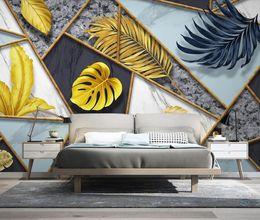 tropischen drucktapete Rabatt Abstrakte geometrische Wandbild Tropical Leaf Wallpaper 3D-Wandbild Leinwanddruck Kunst Tapeten Kontaktpapier Luxus-Wohnkultur